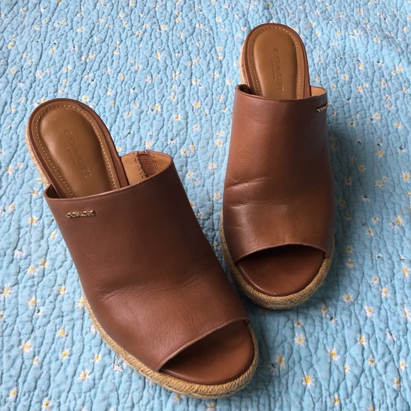 f0940af1de0 COACH 🌸 Gayle Leather Espadrille Slide Wedge